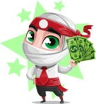 White Ninja with Business Clothes Vector Character Design AKA Yoshiro - Shape 6
