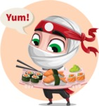 White Ninja with Business Clothes Vector Character Design AKA Yoshiro - Shape 8