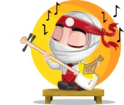 White Ninja with Business Clothes Vector Character Design AKA Yoshiro - Shape 9