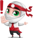 White Ninja with Business Clothes Vector Character Design AKA Yoshiro - Direct Attention 1