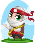 White Ninja with Business Clothes Vector Character Design AKA Yoshiro - Shape 10
