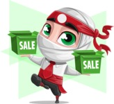 White Ninja with Business Clothes Vector Character Design AKA Yoshiro - Shape 12