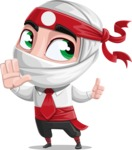 White Ninja with Business Clothes Vector Character Design AKA Yoshiro - Direct Attention 2