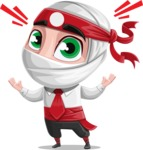 White Ninja with Business Clothes Vector Character Design AKA Yoshiro - Shocked