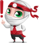White Ninja with Business Clothes Vector Character Design AKA Yoshiro - Attention