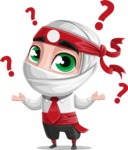 White Ninja with Business Clothes Vector Character Design AKA Yoshiro - Confused