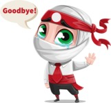 White Ninja with Business Clothes Vector Character Design AKA Yoshiro - Goodbye