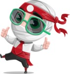 White Ninja with Business Clothes Vector Character Design AKA Yoshiro - Sunglasses