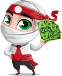 White Ninja with Business Clothes Vector Character Design AKA Yoshiro - Show me the Money