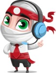 White Ninja with Business Clothes Vector Character Design AKA Yoshiro - Support