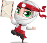White Ninja with Business Clothes Vector Character Design AKA Yoshiro - Letter