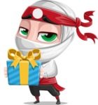 White Ninja with Business Clothes Vector Character Design AKA Yoshiro - Gift