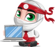 White Ninja with Business Clothes Vector Character Design AKA Yoshiro - Laptop 1