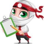 White Ninja with Business Clothes Vector Character Design AKA Yoshiro - Note 1