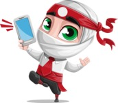 White Ninja with Business Clothes Vector Character Design AKA Yoshiro - Smartphone