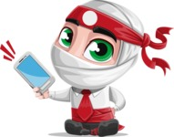 White Ninja with Business Clothes Vector Character Design AKA Yoshiro - Smartphone2
