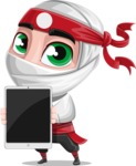White Ninja with Business Clothes Vector Character Design AKA Yoshiro - Tablet 1