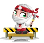 White Ninja with Business Clothes Vector Character Design AKA Yoshiro - Under Construction 2