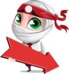 White Ninja with Business Clothes Vector Character Design AKA Yoshiro - Pointer 2