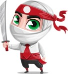 White Ninja with Business Clothes Vector Character Design AKA Yoshiro - Determination