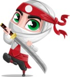 White Ninja with Business Clothes Vector Character Design AKA Yoshiro - Protect