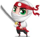 White Ninja with Business Clothes Vector Character Design AKA Yoshiro - Fight