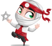 White Ninja with Business Clothes Vector Character Design AKA Yoshiro - Shuriken Attack