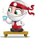 White Ninja with Business Clothes Vector Character Design AKA Yoshiro - Tea