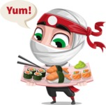 White Ninja with Business Clothes Vector Character Design AKA Yoshiro - Food 2