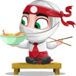 White Ninja with Business Clothes Vector Character Design AKA Yoshiro - Food 3