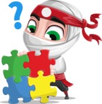 White Ninja with Business Clothes Vector Character Design AKA Yoshiro - Puzzle