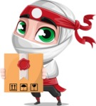White Ninja with Business Clothes Vector Character Design AKA Yoshiro - Delivery 1