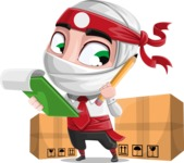 White Ninja with Business Clothes Vector Character Design AKA Yoshiro - Delivery 2