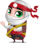White Ninja with Business Clothes Vector Character Design AKA Yoshiro - Travel