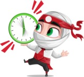White Ninja with Business Clothes Vector Character Design AKA Yoshiro - Time is up