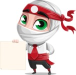 White Ninja with Business Clothes Vector Character Design AKA Yoshiro - Sign 2