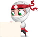 White Ninja with Business Clothes Vector Character Design AKA Yoshiro - Sign 3