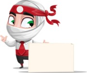 White Ninja with Business Clothes Vector Character Design AKA Yoshiro - Sign 7