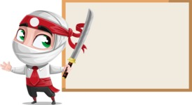 White Ninja with Business Clothes Vector Character Design AKA Yoshiro - Presentation 1