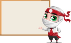 White Ninja with Business Clothes Vector Character Design AKA Yoshiro - Presentation 2