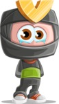 Cute Ninja Cartoon Vector Character AKA Arata - Sad 1