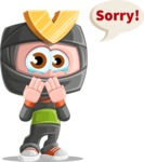 Cute Ninja Cartoon Vector Character AKA Arata - Sad 2