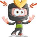 Cute Ninja Cartoon Vector Character AKA Arata - Shocked