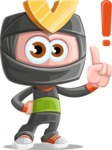 Cute Ninja Cartoon Vector Character AKA Arata - Attention