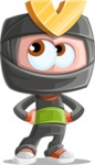 Cute Ninja Cartoon Vector Character AKA Arata - Roll Eyes