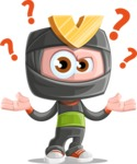 Cute Ninja Cartoon Vector Character AKA Arata - Confused
