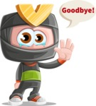Cute Ninja Cartoon Vector Character AKA Arata - Goodbye
