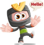 Cute Ninja Cartoon Vector Character AKA Arata - Hello