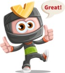 Cute Ninja Cartoon Vector Character AKA Arata - Thumbs Up
