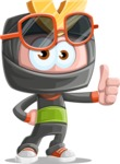 Cute Ninja Cartoon Vector Character AKA Arata - Sunglasses 2